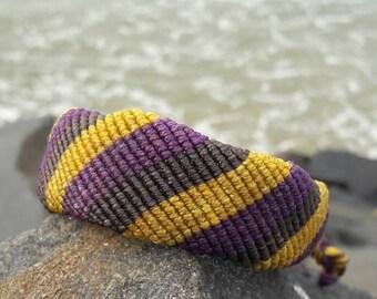 Friendship Bracelet Macrame Brown Yellow Purple