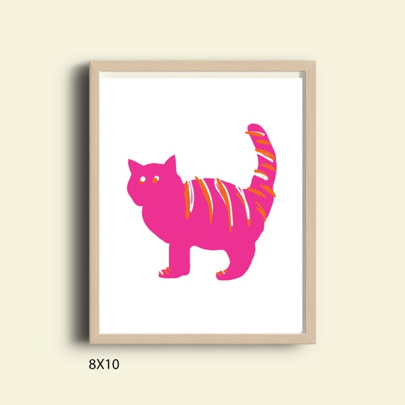 Pink Wall Art Cat by PRINTABLELOVEArt on Etsy
