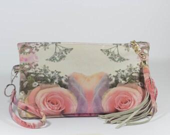 Rose Vintage Flower Clutch with Leather Tassel
