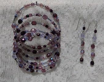 Purple Bracelet and Earrings Set