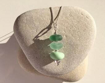 Mixed milk & seaglass pendant