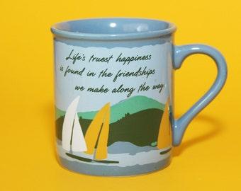 Hallmark Mug Mates Cup Blue Sailboats, Sentiment Friendships, 1985