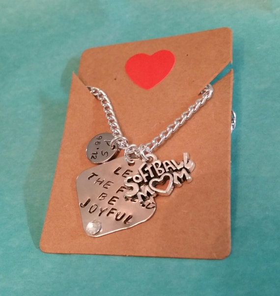 Softball Mom Hand Stamped Birthstone Necklace