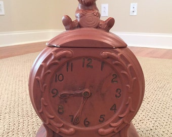 Vintage McCoy Mouse on a Clock Cookie Jar