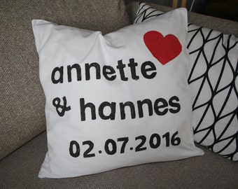 Wedding gift pillow case with names and date