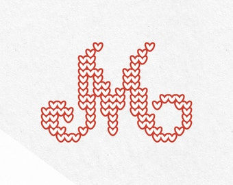 Svg Christmas Monograms Svg Fonts Knit Svg Monograms Svg monogram font Christmas Svg Svg font files for cricut knitted font Letters monogram