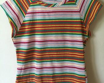 1970s Rainbow Striped Tee Shirt