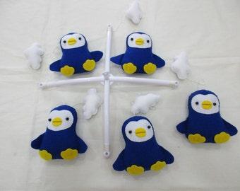 Baby crib mobile, Baby felt mobile, Baby nursery mobile,Baby Mobile, Baby Penguin mobile, Baby Blue mobile, Baby Blue Penguin mobile