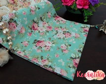 Mint Green Floral Cotton Fabric Pink Roses Floral Fabric Sewing Fabric Floral Summer Fabric 100% Cotton Fabric For Craft