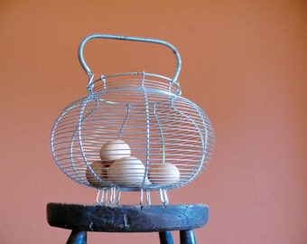 Large Metal Wire Egg Basket, Rustic Handmade Wirework Gathering Basket, French Country Farmhouse Kitchen Decor
