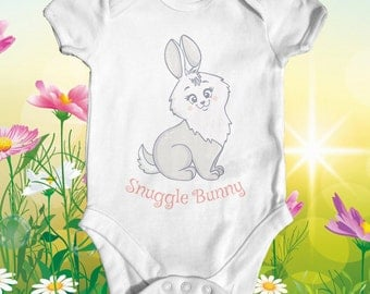 Snuggle Bunny Baby Bodysuit | Baby Girl Clothes | Newborn Outfit | Cute Baby Clothes | Funny Baby Bodysuit | Animal Baby Bodysuit