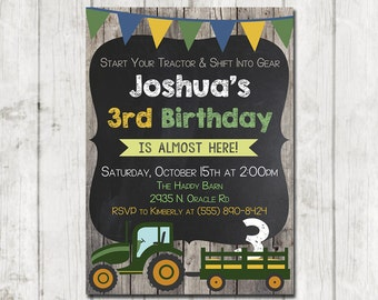 Printable Tractor Invitation, Tractor Birthday Invitation, Tractor Party, Farm Barn Wood Tractor invite, Green Tractor Chalkboard Invitation