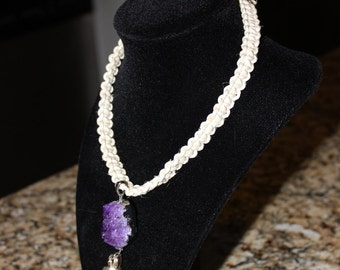Beautiful purple crystal cluster hemp choker