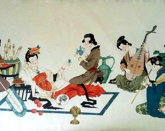 The Chinese Princess of the canvas on the meticulous painting