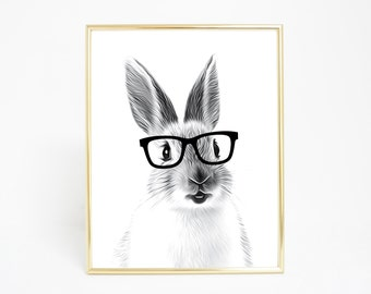Hipster Rabbit - Digital Print and Poster - Drawing & Illustration - Wall Art - Printable Artwork - All Popular Sizes
