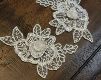 White lace flower applique with a 3D center, flower and leaves applique, pair of two, 3 inches by 2 inches