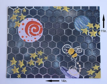 """Hand Painted One of a Kind Outer Space-Themed Honeybee Painting """"Bee Space"""""""