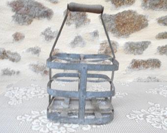 Vintage French Zinc bottle carrier (4 Bottles)