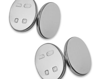 Heavy Sterling Silver Hallmark Oval cufflinks