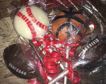 Sports chocolate lollipops