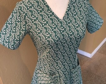 Vintage Paisly Green Dress