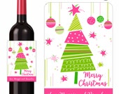 Holiday Wine Labels Pink Green Abstract Tree Ornaments Merry Christmas Wine Gifts Personalized Custom Labels Waterproof Vinyl 3.5 x 5 Inch