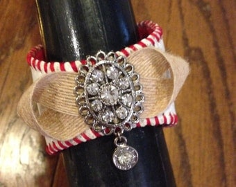 Recycled baseball -- fashion cuff bracelet