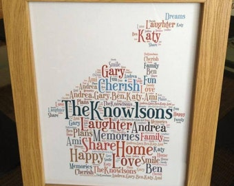 A4 Personalised Word Art House Famiy Print (UK ONLY)/Download