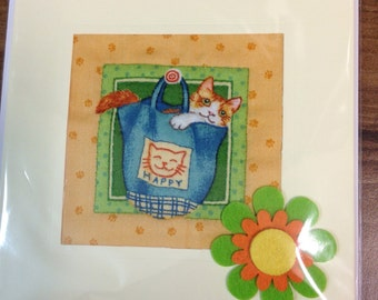 Hand Quilted Sewn Greetings Card Ginger Cat in a bag