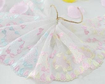 "5 yard 17cm 6.69"" wide blue/pink mesh embroidery lace trim trims ribbon L22K171 free ship"