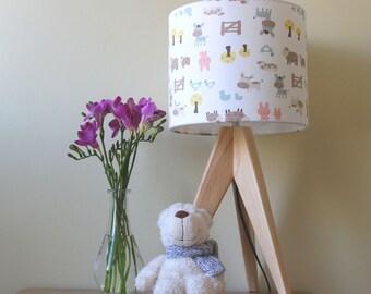 Handmade drum lampshade cute animal print for nursery or child's bedroom UK