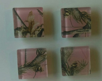 Pink Camo Glass Magnet Set