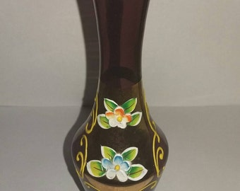 Bohemian glassware amethyst purple vase