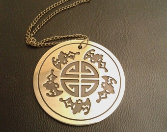 Health and Longevity - pendant from brass, brass carving, Health and Longevity amulet, Health and Longevity Necklace