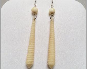 Antique long spiral bone earrings