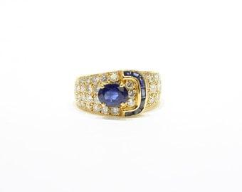 Vintage Van Cleef and Arpels Sapphire and Diamond Buckle Ring
