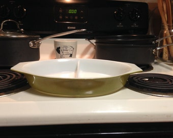 Vintage Pyrex olive green divided casserole dish