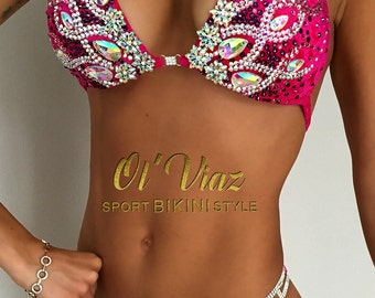 Fuchsia Velvet Competition Bikini with Rhinestone Crystals/Competition Suit/Posing Suit/Rhinestone Fitness