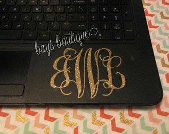Laptop Decal, Glitter Monogram, Laptop, Car Window, Vinyl, Decal, Sticker, Glitter Decal, Glitter Sticker, Decals for Cars, Stickers, Custom
