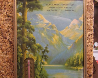 1940 Schlechter Jewelry Co. Reading PA Advertising Thermometer and Calendar