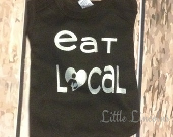 Eat Local Baby Bodysuit, Breastfeeding Support shirt, baby shirt, eat local baby shirt, black and silver shirt, breastfeeding baby shirt
