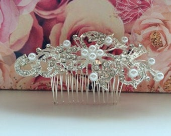 "Bridal ""Katy"" comb hair accessory silver with rhinestone and pearl detailing"