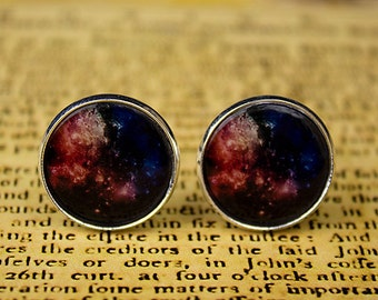 Galaxy cufflinks, space cufflinks, nebula cufflinks