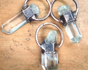 Raw Quartz Crystal pendant| Rough quartz electroformed pendant|Coppar hoop pendants| crystat point pendant
