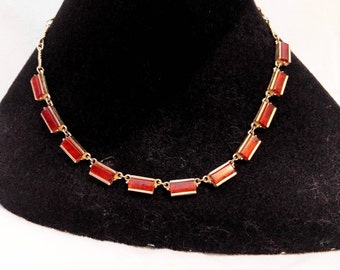 Emmons Amber Lucite Rectangular Metal Beads Necklace