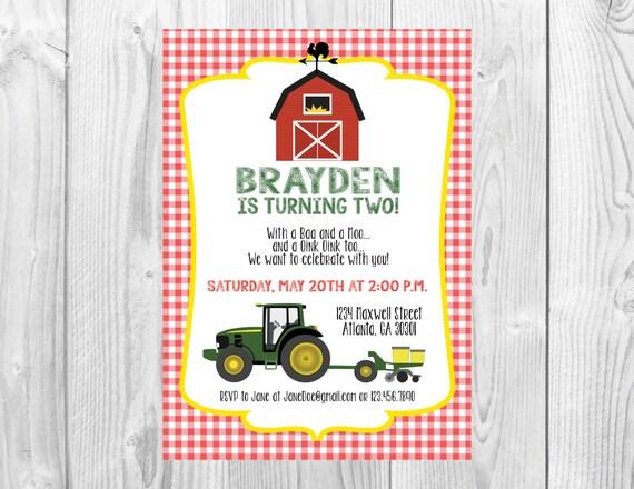 Barnyard Birthday Party Invitation >> Farm Birthday Party Invite >>  Tractor Birthday >> Barn Birthday >> Custom Printable Digital File