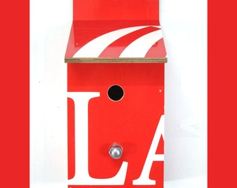 Billbirdhouse - birdhouse made from recycled billboards - red and white - sustainable design, reuse, reclaimed, eco, Billbirdhouses