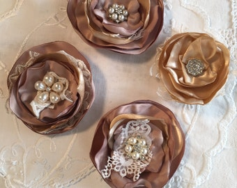 Singed Satin Handmade Roses