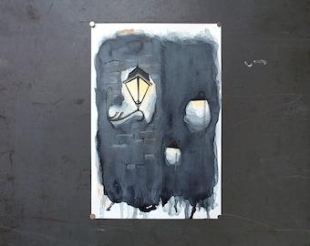 watercolor original painting | night light