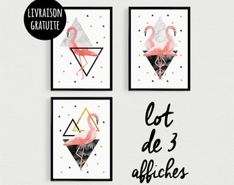 PROMOTION: Triptych set of 3 posters Flamingo inspired Scandinavian Bohemia - gold, pink and black - marble - shape triangle